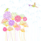 Colorful Hummingbird and Flower Stock Images