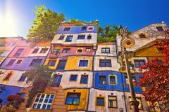 Colorful Hundertwasserhaus architecture of Vienna view Royalty Free Stock Image