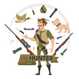 Colorful Hunting Elements Concept Royalty Free Stock Photography