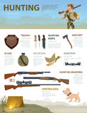 Colorful Hunting Infographic Concept Stock Photos