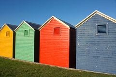 Colorful huts. Colorful wooden beach huts in South Africa royalty free stock photography