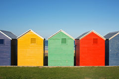 Colorful huts. Colorful wooden beach huts in South Africa royalty free stock images