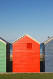Colorful huts. Colorful wooden beach huts in South Africa stock photos