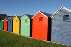 Colorful huts. Colorful wooden beach huts in South Africa stock photography