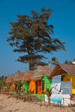 Colorful huts on the beach Royalty Free Stock Image
