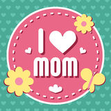 Colorful I Love Mom Emblem. Vector Design Elements For Greeting Card and Other Print Templates. Typography composition. Colorful I Love Mom Emblem. Vector Royalty Free Stock Photography