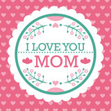 Colorful I Love Mom Emblem. Vector Design Elements For Greeting Card and Other Print Templates. Typography composition. Colorful I Love Mom Emblem. Vector Royalty Free Stock Photos