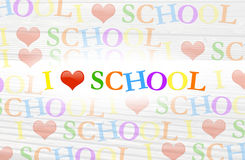 Colorful I love school background text. With red heart. Students love school concept Stock Image