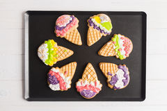 Colorful ice cone shape gingerbread cookies Royalty Free Stock Photography