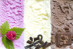 Colorful ice cream abstract background with fresh fruits Stock Photos