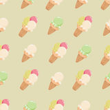 Colorful ice cream on a beige background. Ice cream in waffle cups. Seamless pattern. The background is orange. Design for textiles, napkins, tapestries Stock Photography