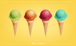 Colorful Ice cream in the cone, Different flavors, Vector. Eps10 Royalty Free Stock Photo