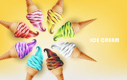 Colorful ice cream cone in form of circle, different flavors, vector illustration. Colorful ice cream cone in form of circle, different flavors such as vector illustration