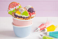 Colorful ice cream cone shape icing cookies Royalty Free Stock Photography
