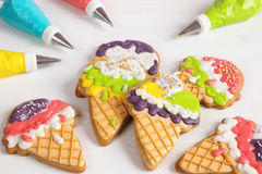 Colorful ice cream cone shape icing cookies Royalty Free Stock Photo