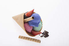 Colorful ice cream in cone Royalty Free Stock Photography