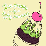 Colorful ice cream cone summer card Stock Photos
