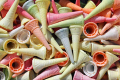 Colorful ice cream cones. Abstract summer background royalty free stock photos
