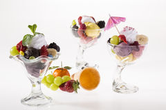 Colorful ice cream cup with fruits for the hot summer days Stock Photography