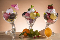 Colorful ice cream cup with fruits for the hot summer days Royalty Free Stock Photography