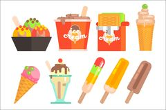 Ice-cream in bowl, waffle, wrapper, box, glass cup and on stick. Summer refreshing desserts with different tastes. Flat. Colorful ice-cream icons in bowl, waffle Stock Photo