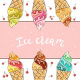 Colorful Ice Cream on pink background Stock Images
