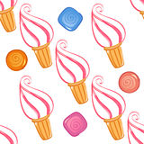 Colorful ice-cream seamless pattern with candies. Vector illustration Royalty Free Stock Image