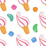 Colorful ice-cream seamless pattern with candies. Vector illustration Stock Images