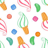 Colorful ice-cream seamless pattern with candies. Vector illustration Royalty Free Stock Photo