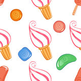 Colorful ice-cream seamless pattern with candies. Vector illustration Royalty Free Stock Photography