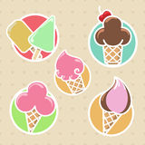 Colorful ice cream stickers collection Royalty Free Stock Photo
