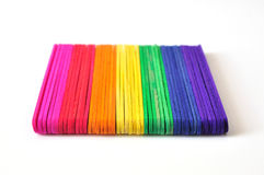 Colorful ice-cream sticks made from wooden. Royalty Free Stock Photo