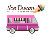 Colorful ice cream truck,vector background. Royalty Free Stock Image
