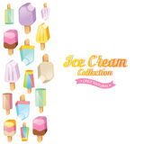 Colorful ice cream vector collection. Ice cream vector. Ice cream illustration. Ice cream sundae on background. Ice cream set. Image of vanilla ice cream Royalty Free Stock Images