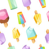 Colorful ice cream vector collection seamless pattern Stock Images