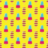 Colorful ice cream on yellow background. Seamless pattern summer milk and fruit ice cream eskimo on stick. Colorful ice cream on yellow background. Seamless Royalty Free Stock Photo