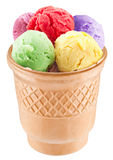Colorful ice-creams in waffle cup. Stock Image