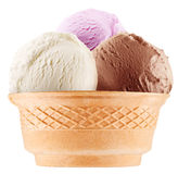 Colorful ice-creams in waffle cup. Royalty Free Stock Images