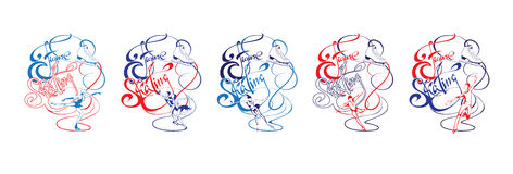 Colorful Ice Figure Skating Collection. With professional skaters in different poses and calligraphic lettering  vector illustration Stock Image