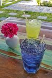 Colorful ice herbal drink refreshments in the garden. Colorful icy drink refreshments in the garden Stock Photos