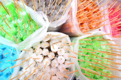 Colorful ice pop in a plastic bag. Colorful ice pop in a plastic bag for background Royalty Free Stock Photos