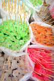 Colorful ice pop in a plastic bag. Colorful ice pop in a plastic bag for background Royalty Free Stock Images