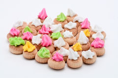 Colorful Icing Biscuit. Isolated in White Stock Photo