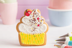 Colorful icing cookies in cupcake shape Royalty Free Stock Photo