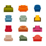 Colorful icon chair set. Collection of furniture for home interiors Royalty Free Stock Photos