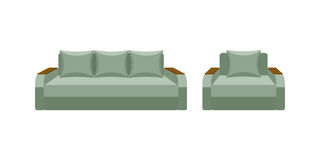 Colorful icon chair and sofa. Collection of furniture for home interiors Stock Photo