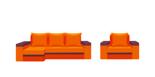 Colorful icon chair and sofa. Collection of furniture for home interiors Stock Image
