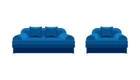 Colorful icon chair and sofa. Collection of furniture for home interiors Royalty Free Stock Photography
