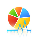 Colorful Icon with Diagram and Graph Stock Images