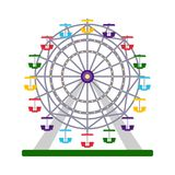 Colorful ferris wheel on white background, vector illustration. Colorful icon of ferris wheel on white background, vector illustration Royalty Free Stock Photos